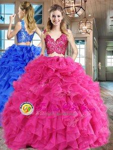 V-neck Sleeveless Zipper Vestidos de Quinceanera Hot Pink Organza
