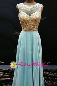 Scoop Floor Length Side Zipper Prom Dress Aqua Blue and In for Prom and Party with Beading