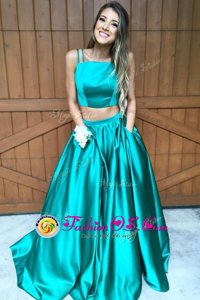 Spaghetti Straps Sleeveless Satin Homecoming Dress Ruching Sweep Train Zipper