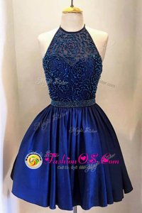 Royal Blue A-line High-neck Sleeveless Satin Knee Length Backless Beading Prom Gown