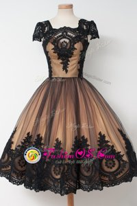 Black Prom Evening Gown Prom and Party and For with Lace Square Cap Sleeves Zipper