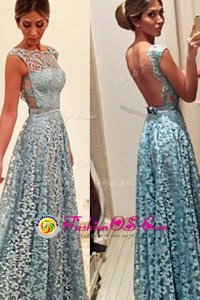 Turquoise Sleeveless Floor Length Lace Backless Prom Dresses
