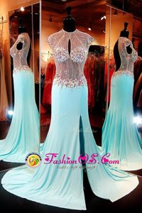 Inexpensive Chiffon Cap Sleeves With Train Celeb Inspired Gowns Sweep Train and Beading