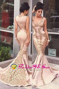 Chic Mermaid Pink Zipper Scoop Beading and Appliques Homecoming Dress Elastic Woven Satin Sleeveless Sweep Train