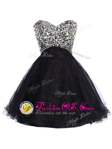 Designer Sequins Sweetheart Sleeveless Lace Up Celebrity Dresses Black Tulle