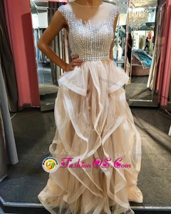 Scoop Sleeveless Tulle Homecoming Dress Beading and Ruffles Zipper