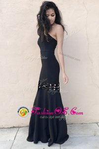 Popular Black Mermaid Strapless Sleeveless Elastic Woven Satin Floor Length Zipper Ruching