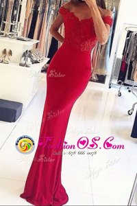 Mermaid Off the Shoulder Red Zipper Celeb Inspired Gowns Beading and Appliques Sleeveless Floor Length