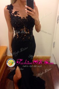 Ideal Mermaid Scoop Black Chiffon Zipper Celebrity Inspired Dress Sleeveless Floor Length Lace