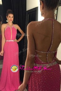 Hot Pink Column/Sheath Elastic Woven Satin Scoop Sleeveless Beading Backless Homecoming Dress Sweep Train
