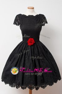 Black Lace Backless Bateau Cap Sleeves Knee Length Prom Party Dress Hand Made Flower