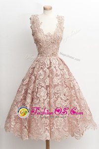 Scoop Lace Sleeveless Knee Length Dress for Prom and Lace