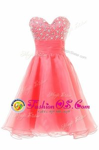 Watermelon Red A-line Sweetheart Sleeveless Chiffon Knee Length Zipper Beading Prom Gown