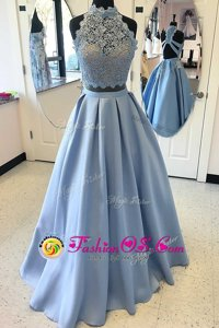 Amazing Light Blue Two Pieces Lace Dress for Prom Criss Cross Satin Sleeveless