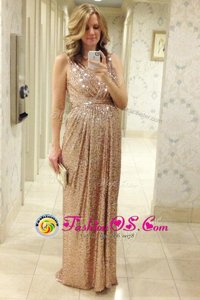 Pink A-line Pleated Prom Dresses Lace Up Sequined Sleeveless Floor Length
