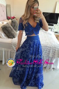 Traditional Sweep Train A-line Evening Dress Royal Blue V-neck Chiffon Short Sleeves Zipper