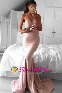 Stunning Mermaid Sleeveless Lace Zipper Celebrity Evening Dresses with Pink Sweep Train