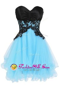 Appliques Blue And Black Lace Up Sleeveless Mini Length