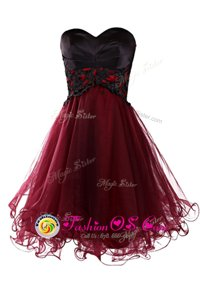 Organza Sleeveless Mini Length Prom Gown and Appliques
