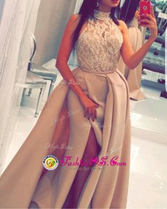 Mermaid High-neck Sleeveless Satin Homecoming Dress Beading and Appliques Sweep Train Zipper