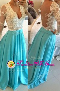 Customized Scoop Lace Cap Sleeves Knee Length Sequins Zipper Prom Evening Gown with Blue