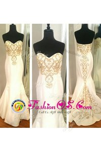 High Class Mermaid White Celebrity Inspired Dress Prom and Party and For with Beading and Appliques Sweetheart Sleeveless Zipper