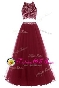 Scoop Sleeveless Tulle Prom Dress Beading and Appliques Side Zipper