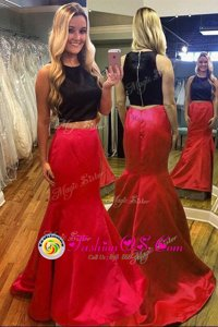 Deluxe Mermaid Scoop Sleeveless Zipper Prom Gown Red And Black Satin