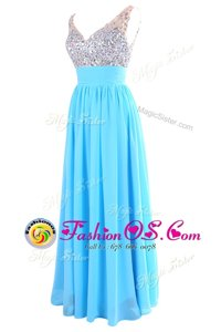 Fashionable V-neck Sleeveless Zipper Evening Dress Aqua Blue Chiffon