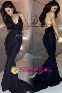 Mermaid Sweetheart Sleeveless Satin Prom Gown Beading and Lace Sweep Train Backless