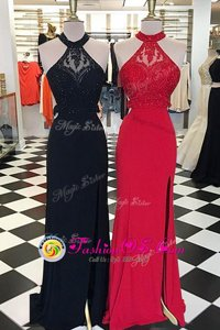 Flirting Scoop Sleeveless Prom Gown With Train Sweep Train Beading and Lace Black Elastic Woven Satin