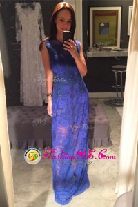 Edgy Scoop Royal Blue Sleeveless Floor Length Lace Zipper Evening Dress