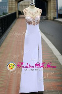 Comfortable White Scoop Backless Beading Prom Dresses Sleeveless
