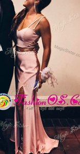 Nice Mermaid Zipper Pink and In for Prom with Ruching Sweep Train