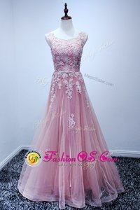 Suitable Scoop Pink Tulle Lace Up Prom Party Dress Sleeveless Floor Length Appliques