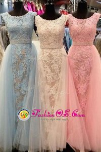 Dazzling Scoop Sleeveless Zipper Prom Dresses Champagne Tulle