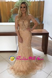 Top Selling Mermaid Scoop Lace Sleeveless With Train Celebrity Evening Dresses Sweep Train and Beading