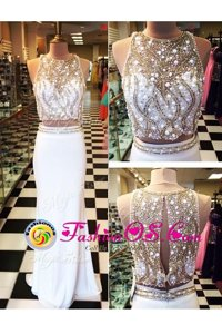 Gorgeous Chiffon Scoop Sleeveless Zipper Beading and Appliques Evening Dress in White