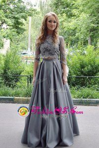 Beauteous A-line Prom Party Dress Grey Scoop Satin 3|4 Length Sleeve Floor Length Zipper