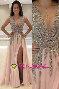 Champagne Sleeveless Brush Train Beading With Train Red Carpet Gowns