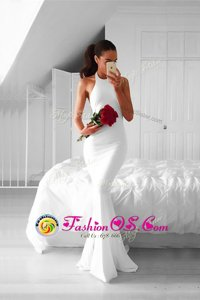 Best Mermaid Ruching Prom Gown White Backless Sleeveless Sweep Train