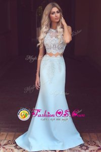 Glittering Sweep Train Mermaid Prom Gown Light Blue Scoop Satin Sleeveless Zipper