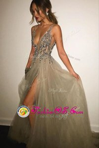 Modest Champagne Prom Gown Tulle Sweep Train Sleeveless Beading