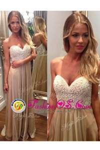 Ideal Champagne Sweetheart Neckline Beading and Ruching Prom Party Dress Sleeveless Zipper