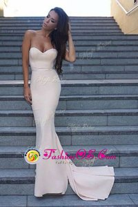 Extravagant Mermaid Backless Dress for Prom White and In for Prom with Ruching Sweep Train