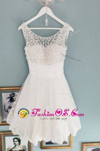 Scoop Lace Sleeveless Knee Length Beading Zipper Prom Evening Gown with White