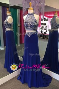 Elastic Woven Satin High-neck Sleeveless Sweep Train Zipper Beading Prom Dress in Royal Blue