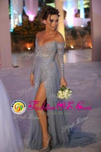 Hot Selling Off the Shoulder Grey Long Sleeves Organza Sweep Train Zipper Prom Dress for Prom and Party