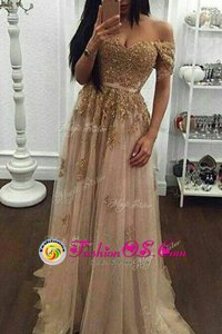 Classical Off The Shoulder Short Sleeves Sweep Train Zipper Prom Party Dress Champagne Tulle