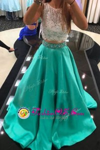 Amazing Scoop Turquoise Zipper Beading and Lace Sleeveless With Train